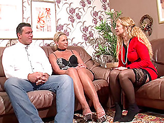 Two mature women hook up with a guy for a hot threesome
