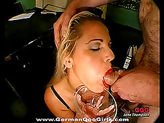 Beautiful blonde and brunette sucking up men's semen