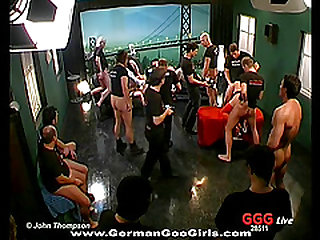 Beautiful dark-haired chick with a slim gorgeous body being fucked long and hard by a group of wild men