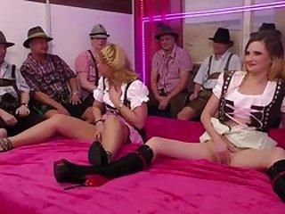 wild german lederhosen gangbang orgy