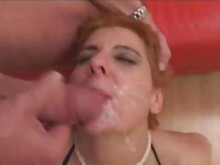 German amateur Milf group sex action with facials