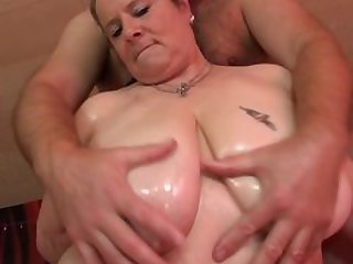 Huge breasted German mature slut fucking and sucking