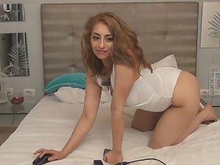 Horny blonde loves stripping
