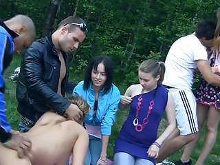 Hot Russian picnic turns into hardcore group fucking action at the open air! A little bit drunk students become wild!