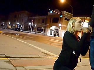 Cute Blonde Girlfriend Sidewalk Blowjob In Public