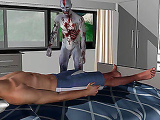 3D cartoon stud getting his tight ass fucked hard by a zombie