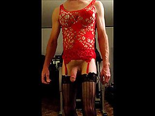 Sissyboy in Red Lingerie
