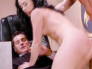 Beautiful brunette Kristina gets a double penetration