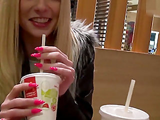 Cute German Amateur Teen Public Fastfood Restaurant Swallow POV