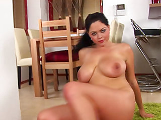 Extreme flexible Shione Cooper shows her massive big natural boobs