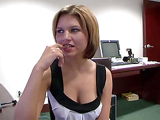 Busty girl receives cock in her shaved pussy