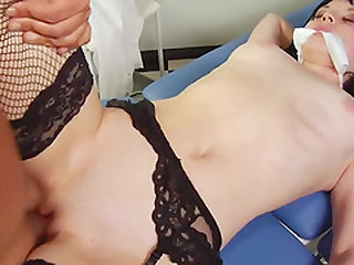 Horny nurse in stockings bangs a doctor hunk
