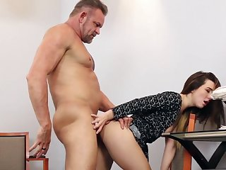 Teen bends ass for older boss while moaning for his dick, enduring sex and heavy inches of dick splashing jizz on her face in the end
