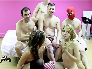 It's time for Silvana and Erika Sevilla to play in a truly nasty fuck show, having several men ready to devour their wet vags