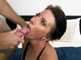 Missy is a dirty mom in fishnet pantyhose who craves to have this guy ending on her face after a wild fuck on the couch