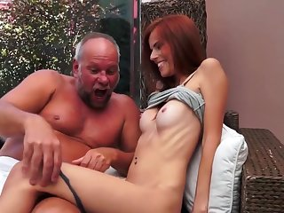 Slutty Susana Melo had always desired to have her shaved pussy enlarged by her horny grandpa's stiff dong