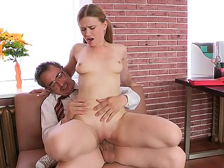 Cutie Augustina with fine eyes gets penetrated in her raw poon with help of that lad