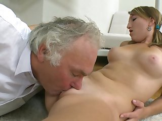 Worth to see this marvelous schoolgirl Kira which is knocking in that pink snatch with old man