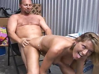 Short-haired milf with nice face and strings is banging in doggy style and missionary pose