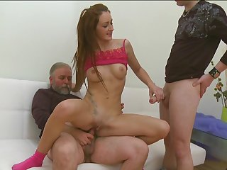 Perverted brunette with accurate shaved pussy and natural boobies Elizaveta bang with a gray man
