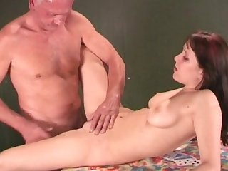 Beauty with cute innocent eyes Kate is banging with nice old man Johan and getting cum
