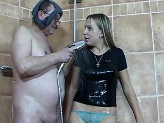 Hardcore young cutie Patricia is kissing Tim and sucking his tasty dick in the bathroom