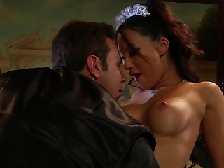 Slick Asian pornstar in maid uniform is giving a nasty deep blowjob for her lovely boss in the bedroom