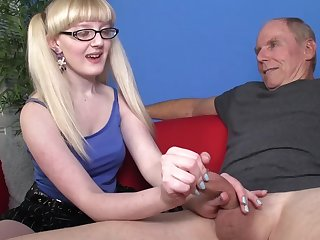 Young blonde with natural boobies and trimmed pussy is wanking this big pole of a hardcore senior