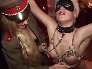 Hardcore bondage and some nasty games with hot wax for two old blondes sluts