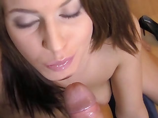 Christina is getting digitally stimulated and giving a blowjob before this guys lays his bone doggy style.