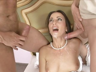 Slutty pornstar Simone Style wearing maid lingerie is getting her trimmed pussy and ass banged simultaneously.