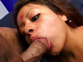 Exquisite babe Indra Verma is riding a cock and fucking doggy style after sucking two meaty rockets.