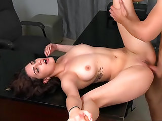 Spicy babe with slim body and small tits is sucking a big tasty dick and riding on top like insane