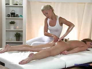 Hot blonde Uma is making sex massage for slender Zara, and licking her shaved pussy
