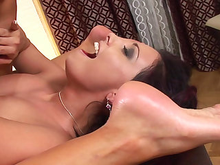 Office lesbian Aneta Keys is licking shaved puss of Jana right on the table with toys