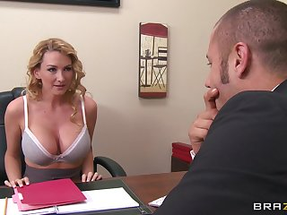 Business blonde woman with big tits is taking off her clothes in the office and having anal on the table.