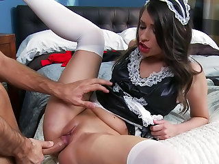 Sexy gentlemen Keiran Lee is penetrating sensual maid Victoria Lawson in her juicy pussy and sloppy mouth