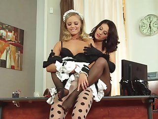 Sexy lesbian Madlin is cute maid that craves to get pussy licking from mature woman Vanda