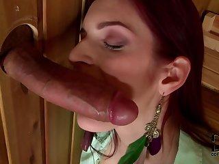 Cock sucking secretary Mira Sunset is making nice sloppy deepthroat throw the wooden wall