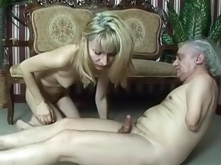 Hot cocksucking blonde with shaved pussy Suzi riding on hard cock of old guy, and getting nice sperm in her face