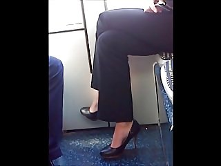sexy heels in tram after work candid ( she know )