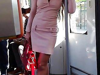 girl in mini leather dress public voyeur &extreme high heels