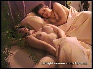 Naughty lesbian Ann Ampar masturbates while lesbian lover Robin Joy sleeps
