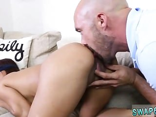 Vintage dad and boss's daughter sex while