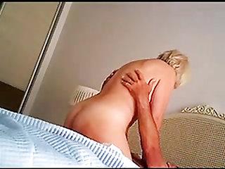 SEXY BLOND GRANNY RIDES TO VIOLENT THRUSTING ORGASMS_240p