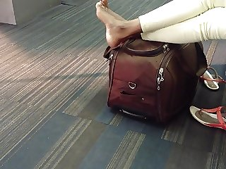 Moroccan Candid Feet at Airport (high arches)
