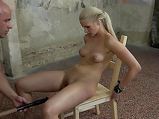Tied up blonde Katy Sky fucked hard by a handsome master