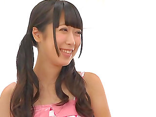 Tiny babe from Japan Nanase Miku gets undressed and bashed in the cunt