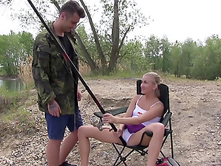 Cayla spreads her legs for a cock during a fishing trip