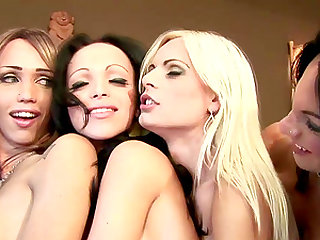 All-babes orgy with lascivious shemales goes out of control